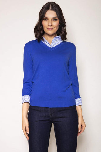 Voulez Vous Jumpers Blue / 10 Knit Top Shirt Collar in Blue