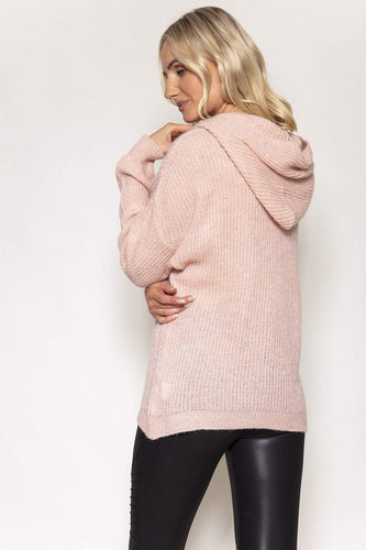 Pala D'oro Jumpers Knitted Hoodie in Pink