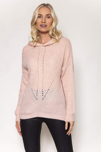 Pala D'oro Jumpers Pink / S/M Knitted Hoodie in Pink