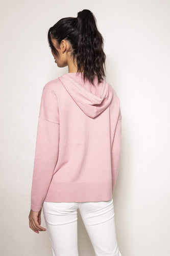 Kelly & Grace Weekend Jumpers Knitted Hoody in Blush