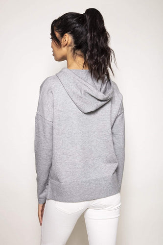 Kelly & Grace Weekend Jumpers Knitted Hoody in Grey