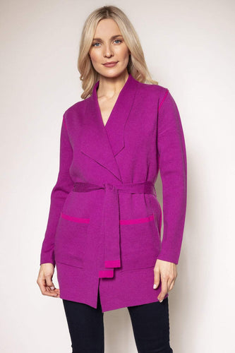 Rowen Avenue Cardigans Fuchsia / S Knitted Wrap Jacket in Fuchsia