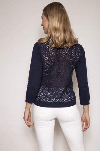 Rowen Avenue Cardigans Lace Back Cardigan in Navy