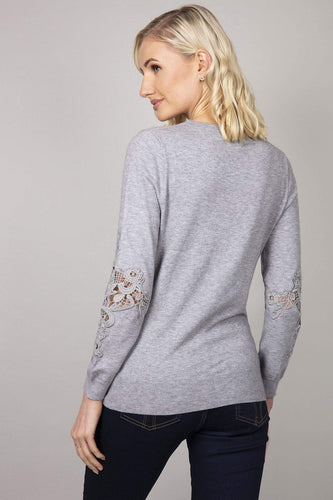 Kelly & Grace Weekend Jumpers Lace Detail Sleeve Jumper in Grey