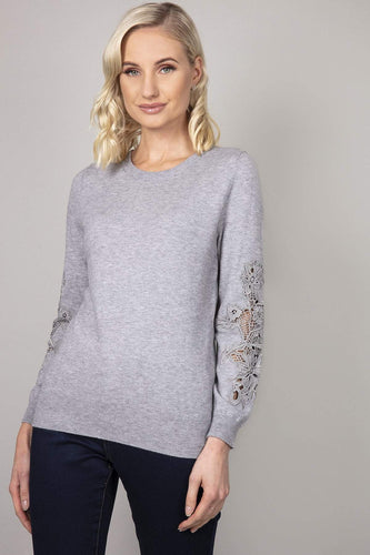 Kelly & Grace Weekend Jumpers Grey / S Lace Detail Sleeve Jumper in Grey
