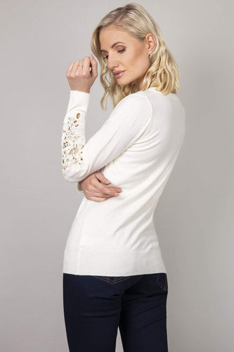 Kelly & Grace Weekend Jumpers Lace Detail Sleeve Jumper in Ivory