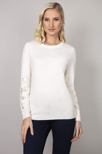 Kelly & Grace Weekend Jumpers Grey / S Lace Detail Sleeve Jumper in Ivory