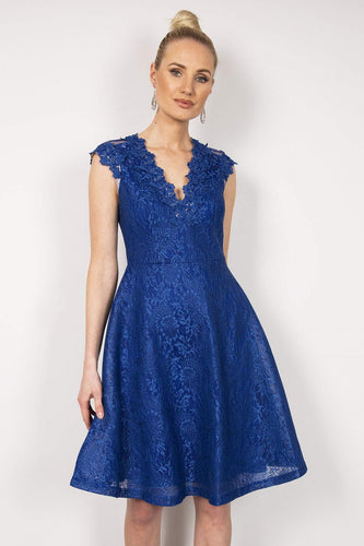 Amber Dresses Blue / XS / Midi Lace Dress in Blue