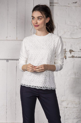 Kelly & Grace Weekend Tops White / S Lace Front Top in Ivory