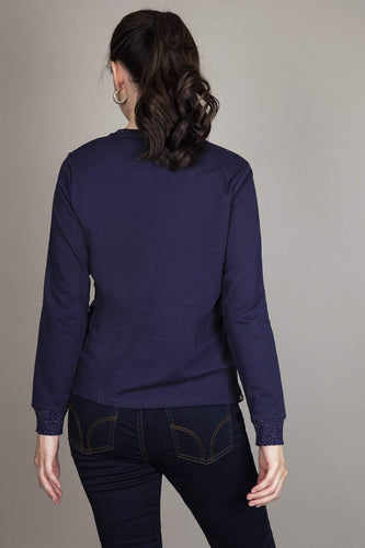 Kelly & Grace Weekend Tops Lace Front Top in Navy
