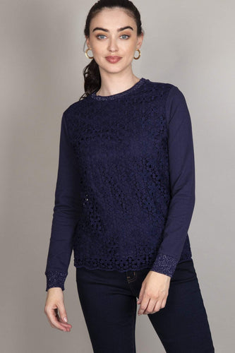 Kelly & Grace Weekend Tops Navy / S Lace Front Top in Navy