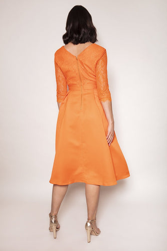 Amor Vitae Dresses Lace Overlayer Dress in Orange