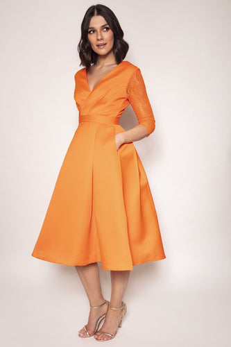Amor Vitae Dresses Orange / 8 / Midi Lace Overlayer Dress in Orange