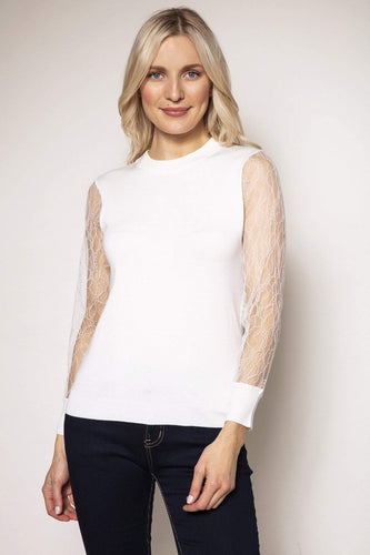Rowen Avenue Jumpers White / S / Long Sleeve Lace Sleeve Knit in Ivory