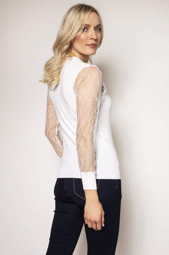 Rowen Avenue Jumpers Lace Sleeve Knit in Ivory
