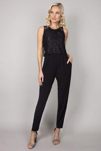 Mela London Jumpsuits Black / 10 Lace Top Overlay Jumpsuit in Black