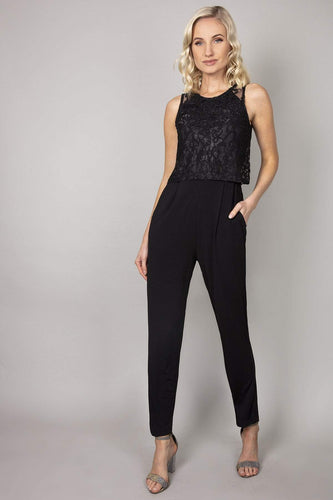 Mela London Jumpsuits Lace Top Overlay Jumpsuit in Black