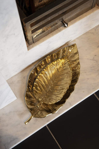 Atticus & Stone Christmas Tableware Large Gold Leaf Dish