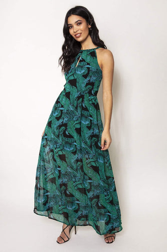 Nova of London Dresses Green / 8 / Maxi Leaf Print Maxi in Green