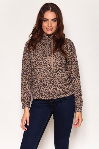 Kelly & Grace Weekend Jumpers Animal / S Leopard Hoodie in Beige