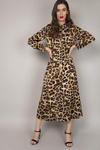 Rowen Avenue Dresses Leopard Print Shirt Dress in Beige