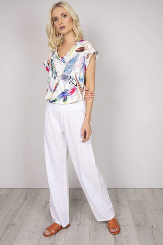 Pala D'oro Trousers White / One Linen Trousers in White