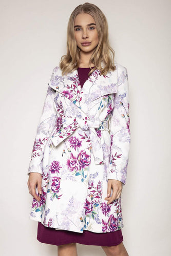 Rowen Avenue Coats Ivory / S Long Coat in Floral Print