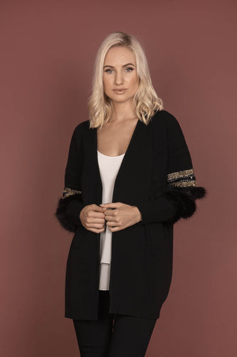 Darling Jumpers Black / 10 Long Detailed Cardi in Black