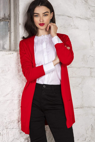 Rowen Avenue Cardigans Red / S Long Line Cardigan in Red