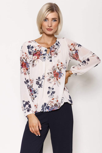 Pala D'oro Tops Ecru / S/M / Long Sleeve Long Sleeve Printed Top in Ecru