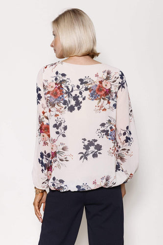 Pala D'oro Tops Long Sleeve Printed Top in Ecru