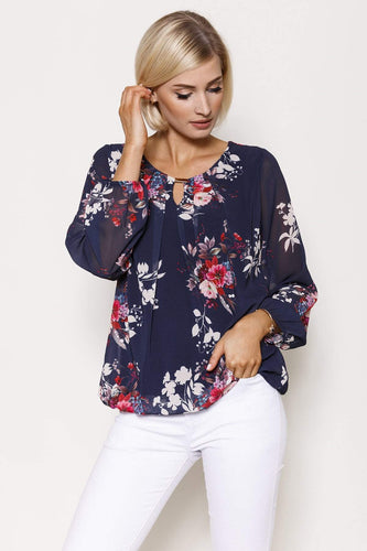 Pala D'oro Tops Navy / S/M / Long Sleeve Long Sleeve Printed Top in Navy