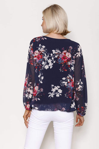 Pala D'oro Tops Long Sleeve Printed Top in Navy