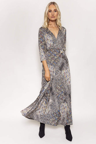 J'aime la Vie Dresses Animal / 10 / Maxi Long V-Neck Dress in Multi Print