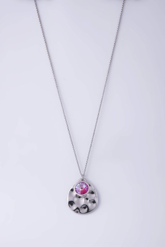 Knight & Day Necklaces Silver Lotus Pink Delite Long Necklace
