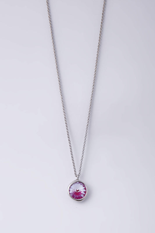 Knight & Day Necklaces Silver Lotus Pink Delite Single Stone Necklace