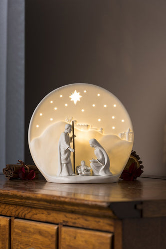 Belleek Christmas Nativity Crib Luminaire Nativity