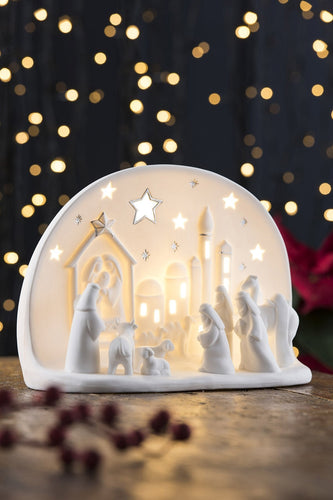 Belleek Christmas Nativity Crib Luminaire Town of Bethlehem