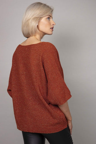 Pala D'oro Jumpers Lurex Basic Knit Jumper in Brick