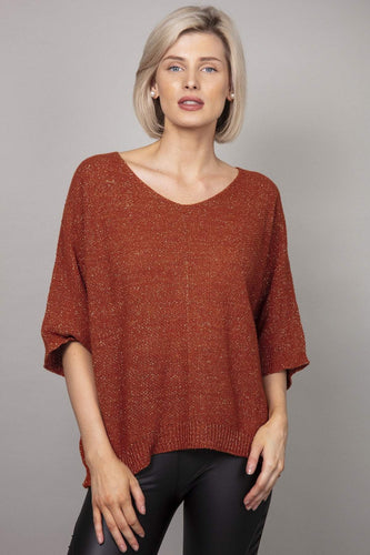 Pala D'oro Jumpers Brown / S/M Lurex Basic Knit Jumper in Brick
