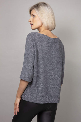 Pala D'oro Jumpers Lurex Basic Knit Jumper in Dark Grey