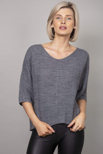 Pala D'oro Jumpers Grey / S/M Lurex Basic Knit Jumper in Dark Grey