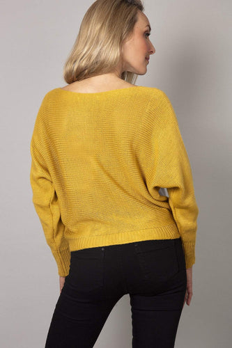 Pala D'oro Jumpers Lurex Dome Sweater in Mustard