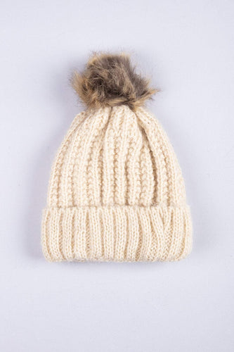 SOUL Accessories Hats Lurex Hat with Brown Pom Pom in Beige