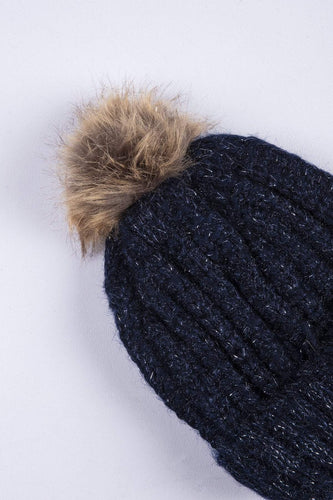 SOUL Accessories Hats Lurex Hat with Brown Pom Pom in Navy