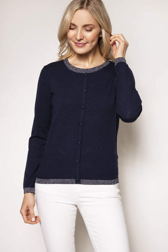 Rowen Avenue Jumpers Navy / S Lurex Trim Knit in Navy