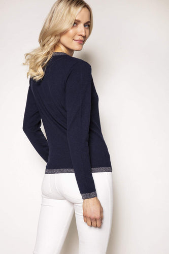 Rowen Avenue Jumpers Lurex Trim Knit in Navy