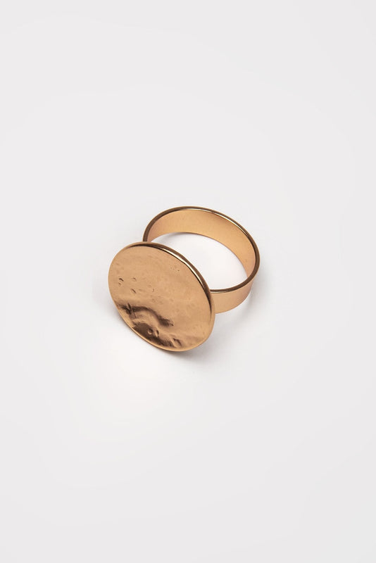 Joularie Rings Rose Gold Matt Rose Gold Disc Ring