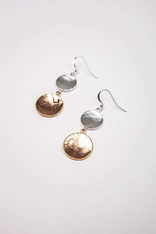Joularie Earrings Multi Matt Silver and Rose Gold Disc Earrings