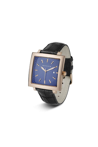 Newbridge Silverware Jewellery Watches Rose Gold Mens Square Face Watch with Black Leather Strap